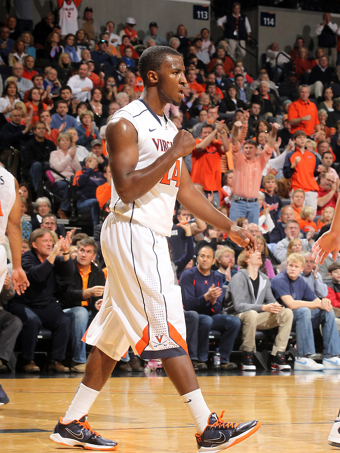 Jan. 8, 2011; Charlottesville, VA, USA;  Virginia Cavaliers guard K.T. Harrell (24) reacts after being fouled during the game North Carolina Tar Heels at the John Paul Jones Arena. Mandatory Credit: Andrew Shurtleff
