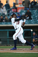 Mylz Jones (13) of the Lancaster JetHawks bats against the Rancho Cucamonga Quakes at The Hanger on April 20, 2017 in Lancaster, California. Lancaster defeated Rancho Cucamonga 4-0. (Larry Goren/Four Seam Images)
