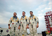"""On January 27, 1967, Apollo 1's crew--Virgil I. """"Gus"""" Grissom, Edward H. White II and Roger B. Chaffee--was killed when a fire erupted in their capsule during testing. Apollo 1 was originally designated AS-204 but following the fire, the astronauts' widows requested that the mission be remembered as Apollo 1 and following missions would be numbered subsequent to the flight that never made it into space."""