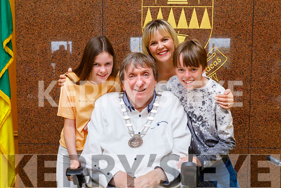 Cllr Terry O'Brien, the new Mayor of the Tralee Municipal District pictured with his wife Theresa and children twins Millie and Mark at the ceremony at the County Council Chambers on Thursday.