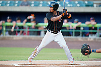Shortstop Jean Carmona (12) of the Delmarva Shorebirds in a game against the Lynchburg Hillcats on Wednesday, August 11, 2021, at Bank of the James Stadium in Lynchburg, Virginia. (Tom Priddy/Four Seam Images)
