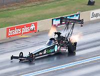 Jul 22, 2017; Morrison, CO, USA; NHRA top fuel driver Scott Palmer during qualifying for the Mile High Nationals at Bandimere Speedway. Mandatory Credit: Mark J. Rebilas-USA TODAY Sports