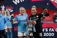 1st November 2020; Wembley Stadium, London, England; Womens FA Cup Final Football, Everton Womens versus Manchester City Womens; Goalkeeper Ellie Roebuck, Georgia Stanway and Alex Greenwood of Manchester City Women pose with the Womens FA Cup Final Trophy