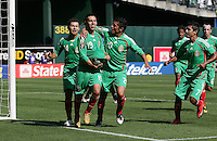 Mexico National Team join to celebrate with Luis Miguel Noriega (19)after his goal. Mexico defeated Nicaragua 2-0 during the First Round of the 2009 CONCACAF Gold Cup at the Oakland, Coliseum in Oakland, California on July 5, 2009.