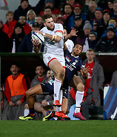 Friday 22nd November 2019   Ulster Rugby vs Clermont Auvergne<br /> <br /> Stuart McCloskey wins this high ball during the Heineken Champions Cup Pool 3 Round 2 match between Ulster Rugby  and Clermont Auvergne at Kingspan Stadium, Ravenhill Park, Belfast, Northern Ireland. Photo by John Dickson/DICKSONDIGITAL