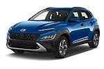 2021 Hyundai Kona-Hybrid Sky 5 Door SUV Angular Front automotive stock photos of front three quarter view