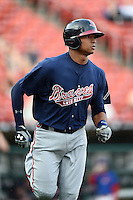 Gwinnett Braves catcher Christian Bethancourt (27) runs to first during a game against the Buffalo Bisons on May 13, 2014 at Coca-Cola Field in Buffalo, New  York.  Gwinnett defeated Buffalo 3-2.  (Mike Janes/Four Seam Images)