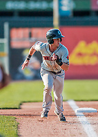20 August 2017: Connecticut Tigers outfielder Luke Burch, a 9th round draft pick for the Detroit Tigers, on the base path during game action against the Vermont Lake Monsters at Centennial Field in Burlington, Vermont. The Lake Monsters rallied to edge out the Tigers 6-5 in 13 innings of NY Penn League action.  Mandatory Credit: Ed Wolfstein Photo *** RAW (NEF) Image File Available ***