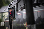 © Joel Goodman - 07973 332324 . 24/05/2014 . Heywood Station , Railway Street , Heywood, UK . 1940s weekend on the East Lancs Railway , with visitors dressed up and partaking in 40s-themed events . Photo credit : Joel Goodman