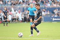 KANSAS CITY, KS - JUNE 26: Felipe Hernandez #21 Sporting KC with the ball during a game between Los Angeles FC and Sporting Kansas City at Children's Mercy Park on June 26, 2021 in Kansas City, Kansas.
