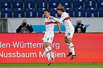 v.li.: Torschütze Marc Oliver Kempf (VfB, 4) und Borna Sosa (VfB, 24), jubeln über das Tor zum 3:3, Jubel, Torjubel, Torerfolg, celebrate the goal, goal, celebration, Jubel ueber das Tor, optimistisch, Spielszene, Highlight, Action, Aktion, 21.11.2020, Sinsheim  (Deutschland), Fussball, Bundesliga, TSG 1899 Hoffenheim - VfB Stuttgart, DFB/DFL REGULATIONS PROHIBIT ANY USE OF PHOTOGRAPHS AS IMAGE SEQUENCES AND/OR QUASI-VIDEO. <br /> <br /> Foto © PIX-Sportfotos *** Foto ist honorarpflichtig! *** Auf Anfrage in hoeherer Qualitaet/Aufloesung. Belegexemplar erbeten. Veroeffentlichung ausschliesslich fuer journalistisch-publizistische Zwecke. For editorial use only.
