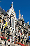 Belgium, West Vlaanderen, Ypres: Detail of the Cloth Hall in the Grote Markt