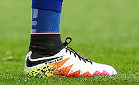 The personalised Nike boot of Riyad Mahrez of Leicester City during the Barclays Premier League match between Leicester City and Swansea City played at The King Power Stadium, Leicester on 24th April 2016