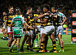 Seta Tamanivalu of Taranaki scores a try during the Mitre 10 Cup Ranfurly Shield Rugby Match between Taranaki and Manawatu at Yarrow Stadium, New Plymouth, Auckland,  New Zealand. Wednesday 11th October 2017. Photo: Simon Watts / www.bwmedia.co.nz