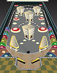 Game of pinball with dollar sign depicting the concept of business gaming