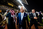 DUBAI, UNITED ARAB EMIRATES - MARCH 25: Bob Baffert moves from the winners circle to the presentation area after Arrogate wins the Dubai World Cup at Meydan Racecourse during Dubai World Cup Day on March 25, 2017 in Dubai, United Arab Emirates. (Photo by Douglas DeFelice/Eclipse Sportswire/Getty Images)