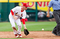 Ryan Jackson (23) of the Springfield Cardinals tries to field a ball during a game against the Arkansas Travelers on May 10, 2011 at Hammons Field in Springfield, Missouri.  Photo By David Welker/Four Seam Images.