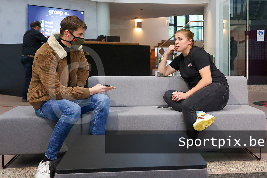 Belgium's goalkeeper Belgian Justien Odeurs pictured during an interview at after the qualifying group stage draw for FIFA Women's World Cup 2023, at Royal Belgian   . PHOTO: SPORTPIX.BE | SPP | SEVIL OKTEM