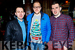 Kevin O'Donoghue, Thomas Hurley and Billy Cronin enjoying their Garveys Supervalu Christmas party in the Ashe Hotel on Saturday.