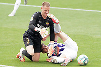 Real Valladolid's KIke Perez (r) and FC Barcelona's Marc-Andre Ter Stegen during La Liga match. July 11,2020. (ALTERPHOTOS/Acero)<br /> 11/07/2020<br /> Liga Spagna 2019/2020 <br /> Valladolid - Barcelona <br /> Foto Alterphotos / Insidefoto <br /> ITALY ONLY