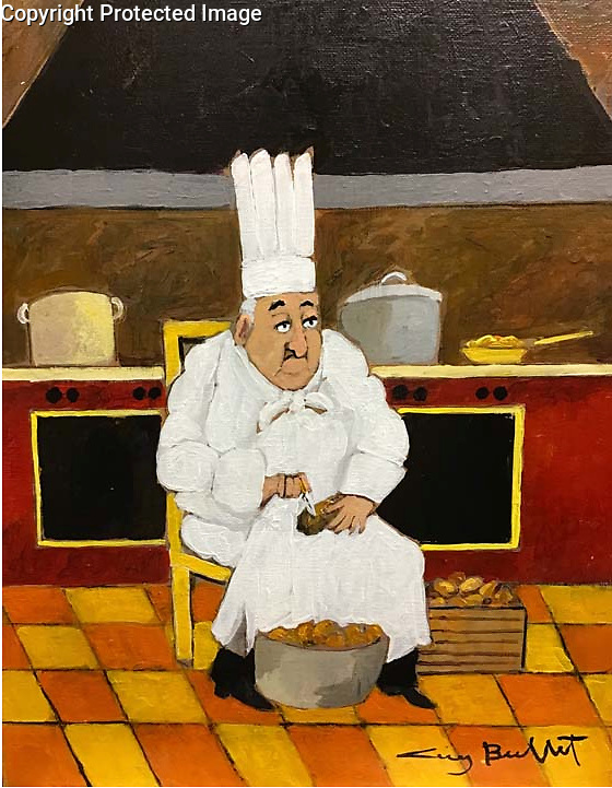 40 Years of Experience and Still Peeling Potatoes!<br /> 16x13 Acrylic on Canvas Original Painting<br /> $5,900
