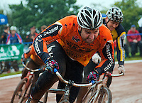 31 AUG 2015 - IPSWICH, GBR - Lee Aris of Wednesfield sprints down the home straight during a heat at the British Cycle Speedway Championships at Whitton Sports and Community Centre in Ipswich, Suffolk, Great Britain (PHOTO COPYRIGHT © 2015 NIGEL FARROW, ALL RIGHTS RESERVED)