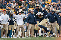 Pitt defensive back Dane Jackson returns an interception 20-yards for a touchdown. The Pitt Panthers defeated the Syracuse Orange 76-61 at Heinz Field in Pittsburgh, Pennsylvania on November 26, 2016.