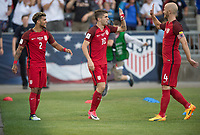 Commerce City, CO - Thursday June 08, 2017: DeAndre Yedlin, Christian Pulisic, Michael Bradley during a 2018 FIFA World Cup Qualifying Final Round match between the men's national teams of the United States (USA) and Trinidad and Tobago (TRI) at Dick's Sporting Goods Park.
