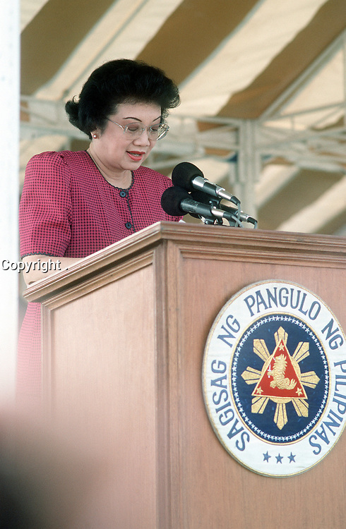 Philippine President Corazon Aquino addresses base workers at a rally at Remy Field concerning jobs for Filipino workers after the Americans withdraw from the U.S. facilities.