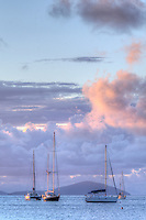 Sailboats at anchor at dusk<br /> From Francis Bay<br /> St. John<br /> U.S. Virgin Islands