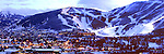 Park City, Utah panorama at dusk. PCMR, center-right & Deer Valley, left runs in the distance. <br /> <br /> Contact us for print availability & price.