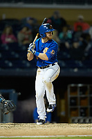 Mike Brosseau (9) of the Durham Bulls at bat against the Gwinnett Braves at Durham Bulls Athletic Park on April 20, 2019 in Durham, North Carolina. The Bulls defeated the Braves 3-2 in game two of a double-header. (Brian Westerholt/Four Seam Images)