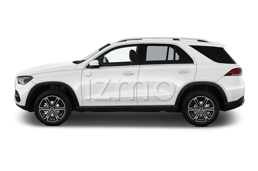 Car Driver side profile view of a 2020 Mercedes Benz GLE 350-d-4MATIC 5 Door SUV Side View