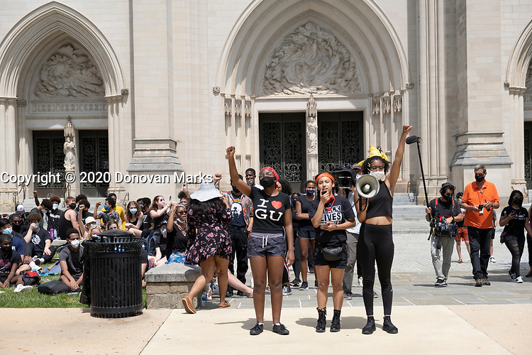 Washington, DC June 5, 2020 - High school students join a Black Lives Matter protest rally at Washington National Cathedral, organized by NCS students.