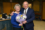 St Johnstone v Partick Thistle…02.03.16  SPFL McDiarmid Park, Perth<br />Ex saints manager Alex Totten presents flowers to Margaret McGlashan her 68th birthday<br />Picture by Graeme Hart.<br />Copyright Perthshire Picture Agency<br />Tel: 01738 623350  Mobile: 07990 594431