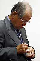 16 July 2011: Japanese Hall of famer Yoshio Yoshida, of the Hanshin Tigers, and former France Team Manager is honored by the French Federation of Baseball during the 2011 Challenge de France in Rouen, France.