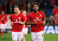Ashley Williams of Wales (R) runs off the pitch during the FIFA World Cup Qualifier Group D match between Wales and Republic of Ireland at The Cardiff City Stadium, Wales, UK. Monday 09 October 2017