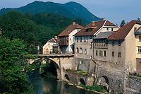 Slowenien, Skofja Loka, Kapuzinerbrücke