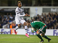 Goalkeeper Ibrahim Sehic of Qarabag FK beats Clinton N'Jie of Tottenham Hotspur to the ball during the UEFA Europa League match between Tottenham Hotspur and Qarabag FK at White Hart Lane, London, England on 17 September 2015. Photo by Andy Rowland.
