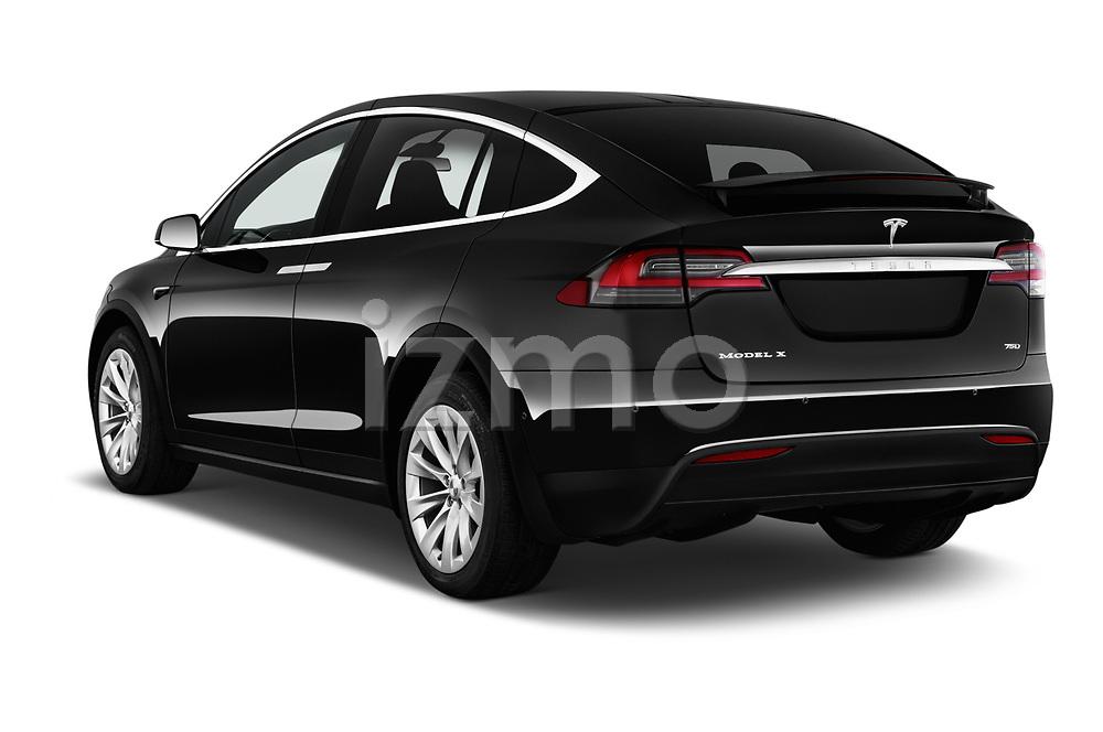 Car pictures of rear three quarter view of 2017 Tesla Model-X 75D 5 Door SUV Angular Rear