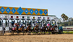July 10, 2020: The Field for the first race breaks from the starting gate on Opening Day at Del Mar Race Track in Del Mar, California on July 10, 2020. The legendary racetrack dubbed Where The Surf Meets The Turf is facing a temporary suspension of racing after 15 jockeys tested positive for coronavirus this week. Alex Evers/Eclipse Sportswire/CSM