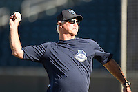 ***Temporary Unedited Reference File***Mobile BayBears pitching coach Doug Drabek (15) during a game against the Jacksonville Suns on April 18, 2016 at The Baseball Grounds in Jacksonville, Florida.  Mobile defeated Jacksonville 11-6.  (Mike Janes/Four Seam Images)