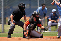 Baltimore Orioles catcher Maverick Handley (90) during a Minor League Spring Training game against the Tampa Bay Rays on April 23, 2021 at Charlotte Sports Park in Port Charlotte, Florida.  (Mike Janes/Four Seam Images)