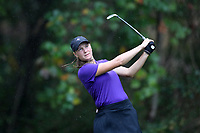 CHAPEL HILL, NC - OCTOBER 13: Sarah-Eve Rheaume of Furman University tees off at UNC Finley Golf Course on October 13, 2019 in Chapel Hill, North Carolina.