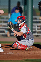 Kimble Schuessler during the Under Armour All-America Pre-Season Tournament, powered by Baseball Factory, on January 19, 2019 at Sloan Park in Mesa, Arizona.  Kimble Schuessler is a catcher from Llano, Texas who attends Llano High School and is committed to Texas A&M.  (Mike Janes/Four Seam Images)