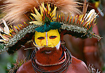 Huli tribesman dressed for the singsing at Mount Hagen, Papua New Guinea