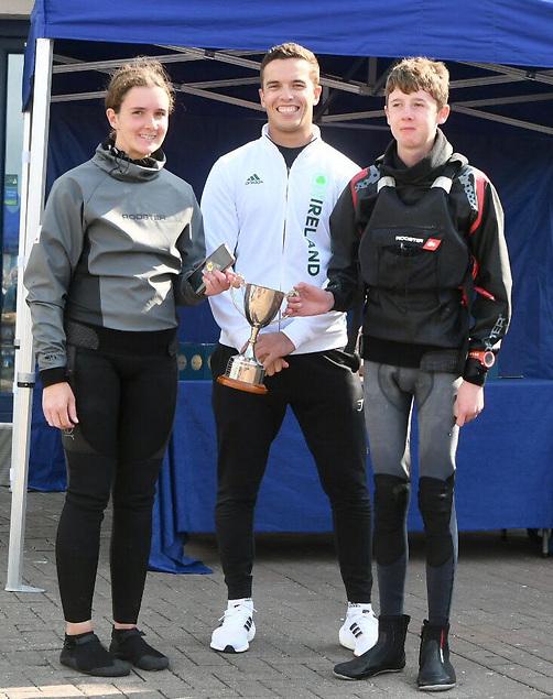 Curraghbinny Cup Sarah Whyte and Sean Cronin with Tokyo 2020 sailor Sean Waddilove