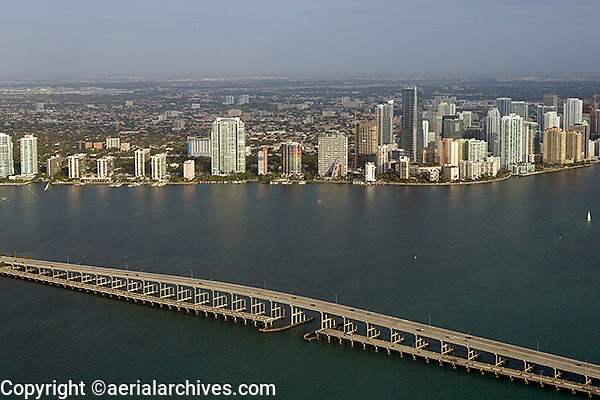 aerial photograph Rickenbacker Causeway bridge Biscayne Bay Miami Florida
