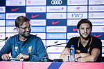 Liverpool FC head coach Jurgen Klopp (L) and Liverpool FC Midfielder Adam Lallana (R) speaks to the media during a Premier League Asia Trophy Press Conference at Grand Hyatt Hotel on July 21, 2017 in Hong Kong, China. Photo by Marcio Rodrigo Machado / Power Sport Images