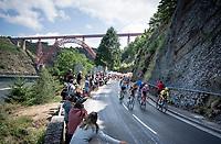 Front of the peloton with yellow jersey / GC leader Julian Alaphilippe (FRA/Deceuninck - QuickStep), Maxime Monfort (BEL/Lotto-Soudal) & (eventual stage winner) Wout van Aert (BEL/Jumbo - Visma)<br /> <br /> Stage 10: Saint-Flour to Albi(217km)<br /> 106th Tour de France 2019 (2.UWT)<br /> <br /> ©kramon